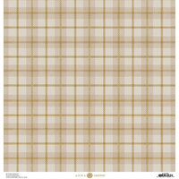 Anna Griffin - Fall Plaid Collection - 12 x 12 Cardstock - Grey and Gold Wallace