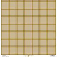 Anna Griffin - Fall Plaid Collection - 12 x 12 Cardstock - Grey and Gold Foil Tattersall
