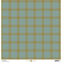 Anna Griffin - Fall Plaid Collection - 12 x 12 Cardstock - Blue and Gold Foil Tattersall