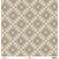 Anna Griffin - Fall Plaid Collection - 12 x 12 Cardstock - Grey and Gold Foil Glen