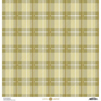 Anna Griffin - Fall Plaid Collection - 12 x 12 Cardstock - Green and Gold Foil Madras