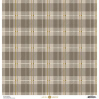 Anna Griffin - Fall Plaid Collection - 12 x 12 Cardstock - Grey and Gold Foil Madras
