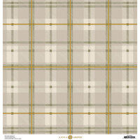 Anna Griffin - Fall Plaid Collection - 12 x 12 Cardstock - Grey and Gold Foil Watch