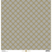 Anna Griffin - Fall Plaid Collection - 12 x 12 Cardstock - Grey and Gold Foil Windowpane