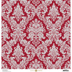 Anna Griffin - Christmas Damask Collection - 12 x 12 Paper - Red and Silver