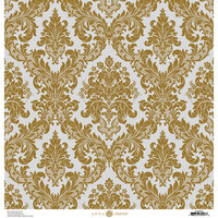 Anna Griffin - Christmas Damask Collection - 12 x 12 Paper - Silver and Gold