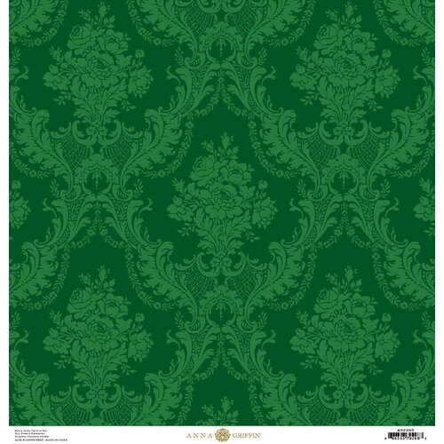 Anna Griffin - Christmas Damask Collection - 12 x 12 Paper - Green Rose
