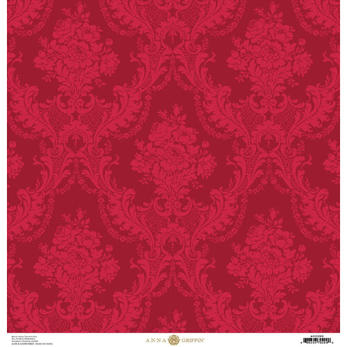 Anna Griffin - Christmas Damask Collection - 12 x 12 Paper - Red Rose