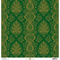 Anna Griffin - Christmas Damask Collection - 12 x 12 Paper - Green and Gold Holiday