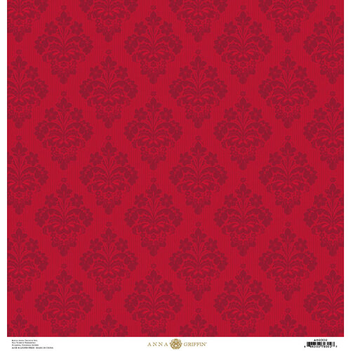 Anna Griffin - Christmas Damask Collection - 12 x 12 Paper - Red Striae