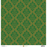 Anna Griffin - Christmas Damask Collection - 12 x 12 Paper - Green and Gold Striae