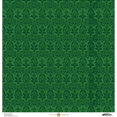 Anna Griffin - Christmas Damask Collection - 12 x 12 Paper - Green Poinsettia