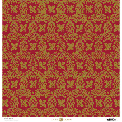 Anna Griffin - Christmas Damask Collection - 12 x 12 Paper - Red and Green Holly