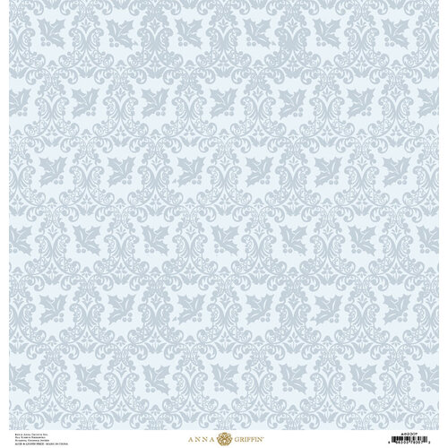Anna Griffin - Christmas Damask Collection - 12 x 12 Paper - Ice Blue Holly