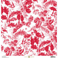Anna Griffin - Christmas Toile Collection - 12 x 12 Paper - Red Christmas Botanical