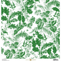Anna Griffin - Christmas Toile Collection - 12 x 12 Paper - Green Christmas Botanical
