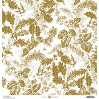 Anna Griffin - Christmas Toile Collection - 12 x 12 Paper - Gold Christmas Botanical