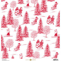 Anna Griffin - Christmas Toile Collection - 12 x 12 Paper - Red Christmas Tree