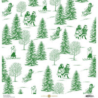 Anna Griffin - Christmas Toile Collection - 12 x 12 Paper - Green Christmas Tree