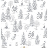 Anna Griffin - Christmas Toile Collection - 12 x 12 Paper - Silver Christmas Tree