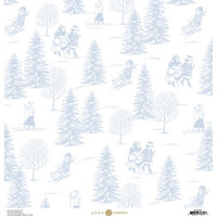 Anna Griffin - Christmas Toile Collection - 12 x 12 Paper - Blue Christmas Tree