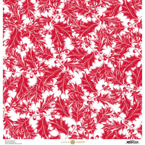 Anna Griffin - Christmas Toile Collection - 12 x 12 Paper - Red Holly