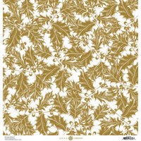 Anna Griffin - Christmas Toile Collection - 12 x 12 Paper - Gold Holly