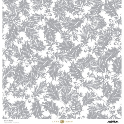 Anna Griffin - Christmas Toile Collection - 12 x 12 Paper - Silver Holly