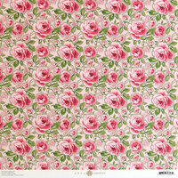 Anna Griffin - Smitten Collection - 12 x 12 Cardstock - Pink and Green Roses