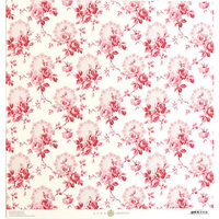 Anna Griffin - Smitten Collection - 12 x 12 Cardstock - Pink Rose Vines