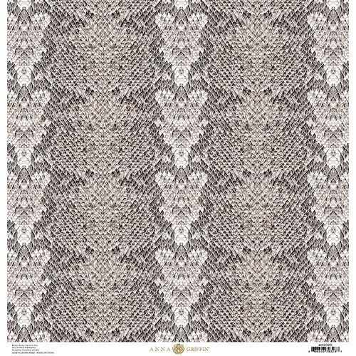 Anna Griffin - Animal Prints Collection - 12 x 12 Cardstock - Grey Snakeskin
