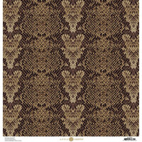 Anna Griffin - Animal Prints Collection - 12 x 12 Cardstock - Brown Snakeskin
