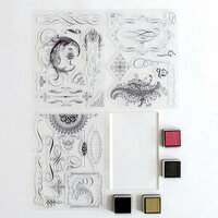 Anna Griffin - Clear Acrylic Stamp Kit - Flourishes