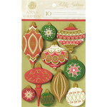 Anna Griffin - Holiday Traditions Collection - Christmas - Glittered 3 Dimensional Stickers - Ornaments