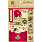 Anna Griffin - Calisto Christmas Collection - Glittered 3 Dimensional Stickers - Postcards