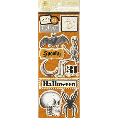 Anna Griffin - Esmerelda Collection - Halloween - Glittered 3 Dimensional Stickers - Titles, CLEARANCE