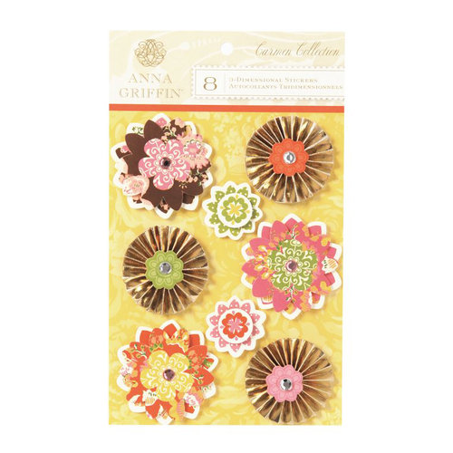 Anna Griffin - Carmen Collection - 3 Dimensional  Stickers with Foil and Gem Accents - Flowers