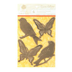 Anna Griffin - Carmen Collection - Embossed and Foiled 3 Dimensional Stickers - Birds and Butterflies
