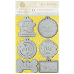 Anna Griffin - Fifi and Fido Collection - Foiled 3 Dimensional Cardstock Stickers - Dog Tags