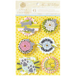 Anna Griffin - Fifi and Fido Collection - Foiled 3 Dimensional Cardstock Stickers