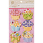 Anna Griffin - Lizzie Collection - 3 Dimensional Stickers - Paper Cupcakes