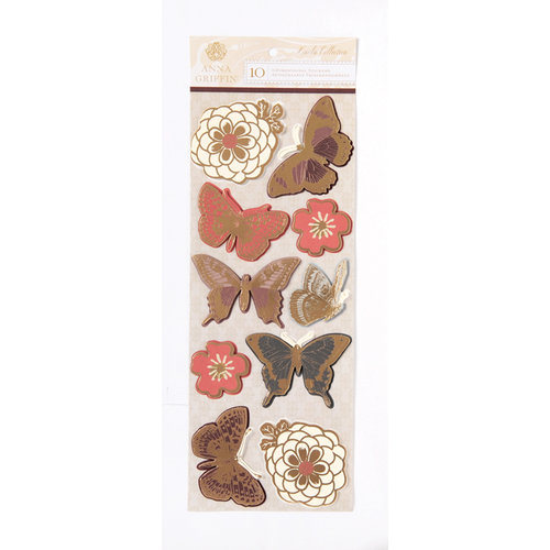 Anna Griffin - Honoka Collection - Foiled 3 Dimensional Cardstock Stickers - Art