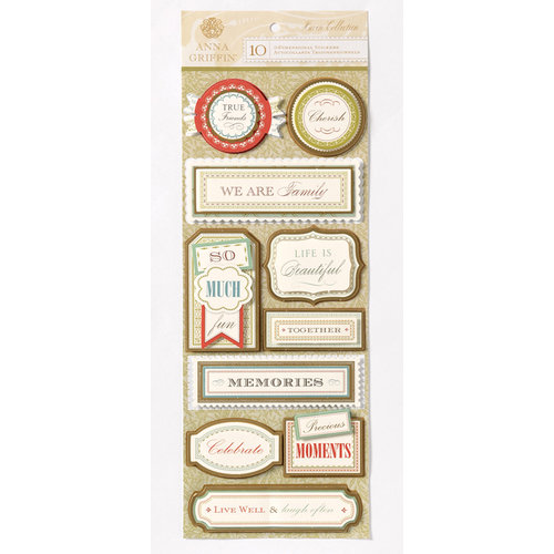 Anna Griffin - Haven Collection - Foiled 3 Dimensional Cardstock Stickers - Title