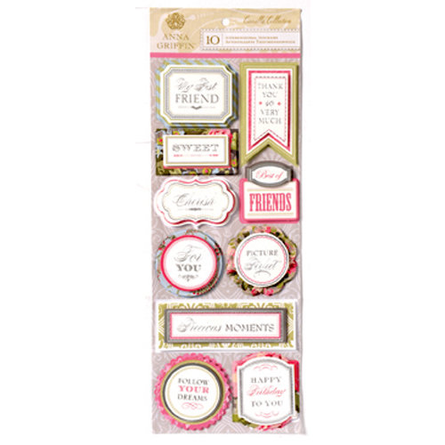 Anna Griffin - Camilla Collection - 3 Dimensional Cardstock Stickers with Foil Accents - Title