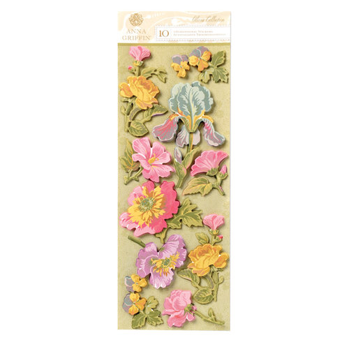 Anna Griffin - Olivia Collection - 3 Dimensional Cardstock Stickers - Art