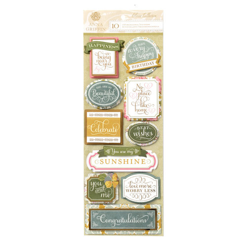 Anna Griffin - Olivia Collection - 3 Dimensional Cardstock Stickers with Foil Accents - Titles