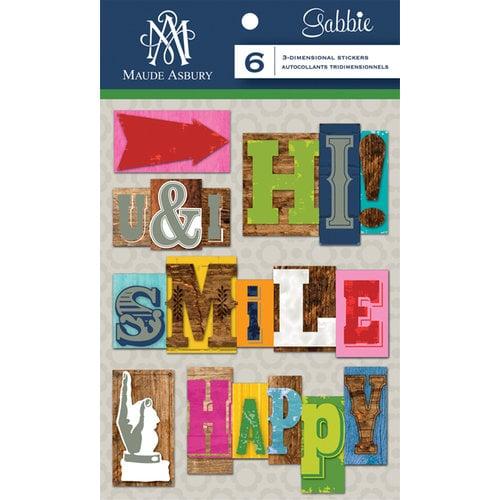 Anna Griffin - Gabbie Collection - 3 Dimensional Stickers - Letterpress Words