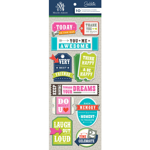 Anna Griffin - Gabbie Collection - 3 Dimensional Stickers - Titles