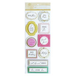 Anna Griffin - Lila Collection - 3 Dimensional Stickers - Sentiment with Foil Accents