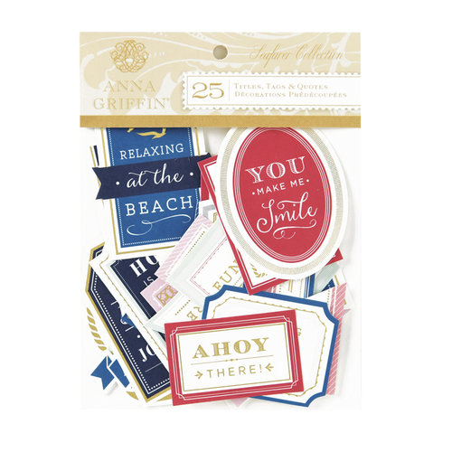 Anna Griffin - Seafarer Collection - Die Cut Cardstock Pieces - Sentiments